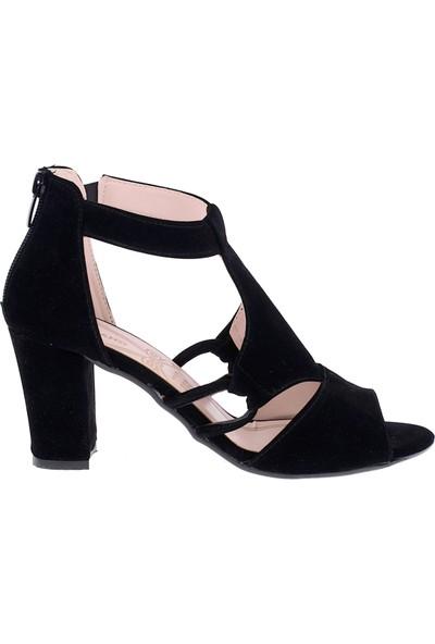 Ayakland 811-78 Süet 7 cm Topuklu Kadın Sandalet Ayakkabı
