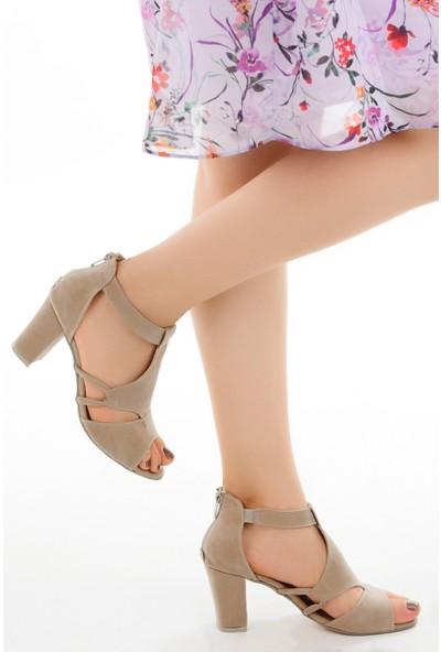 Ayakland 811-78 Süet 7 cm Topuklu Kadın Sandalet Ayakkabı Ten