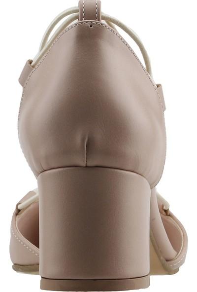 Ayakland 97544-1156 5 cm Topuk Kadın Cilt Sandalet Ayakkabı