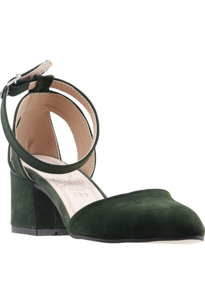 Ayakland 97544-384 Günlük 5 cm Topuk Kadın Süet Sandalet Ayakkabı