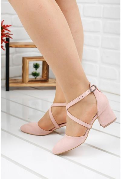 Ayakland 97544-385 Süet 5 cm Topuk Kadın Sandalet Ayakkabı