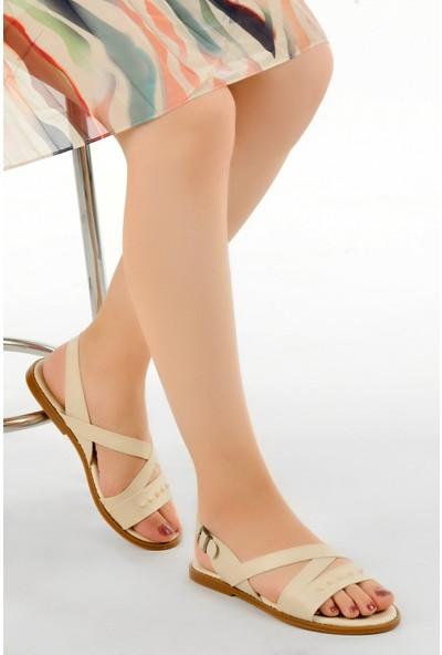 Ayakland Arkadaş A-04 Günlük Kadın Sandalet Bej