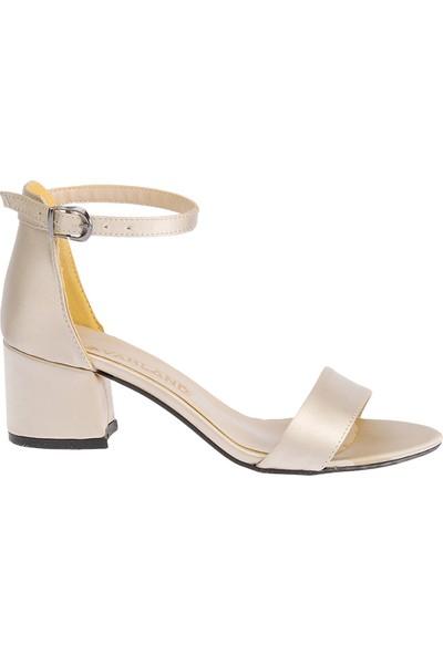 Ayakland Bsm 62 5 cm Topuk Kadın Saten Sandalet Ayakkabı