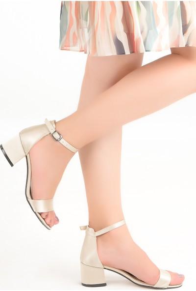 Ayakland Bsm 62 5 cm Topuk Kadın Saten Sandalet Ayakkabı Sedef