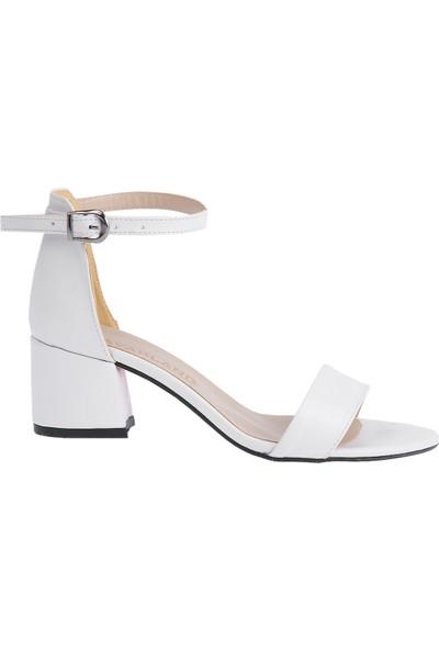 Ayakland Bsm 62 Cilt 5 cm Topuk Kadın Sandalet Ayakkabı Beyaz