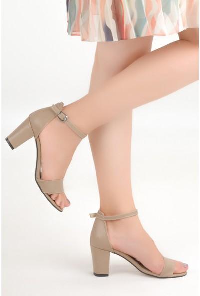 Ayakland Bsm 62 Cilt 7 cm Topuk Kadın Sandalet Ayakkabı Açık Vizon