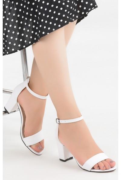 Ayakland Bsm 62 Cilt 7 cm Topuk Kadın Sandalet Ayakkabı Beyaz