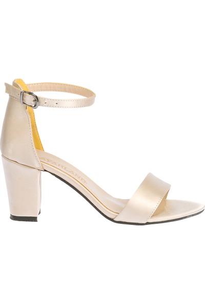 Ayakland Bsm 62 Günlük 7 cm Topuk Kadın Saten Sandalet Ayakkabı