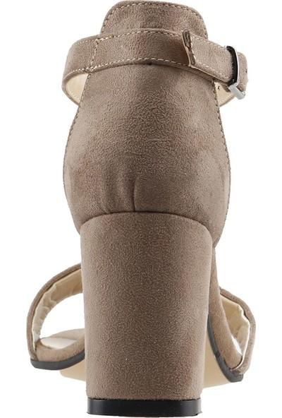 Ayakland Bsm 62 Süet 7 cm Topuk Kadın Sandalet Ayakkabı