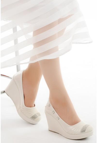 Ayakland Cmr G-09 Abiye 9 cm Dolgu Topuk Kadın Gelin Ayakkabı