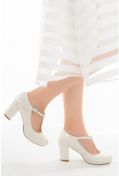 Ayakland Cmr G-20 7 cm Topuk Abiye Kadın Gelin Ayakkabı