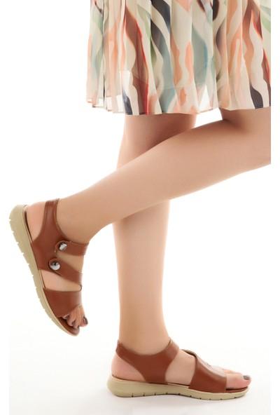 Ayakland Cns 01 Günlük Cırtlı Kadın Sandalet Taba