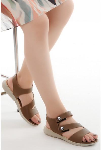 Ayakland Cns 01 Günlük Cırtlı Kadın Sandalet Vızon