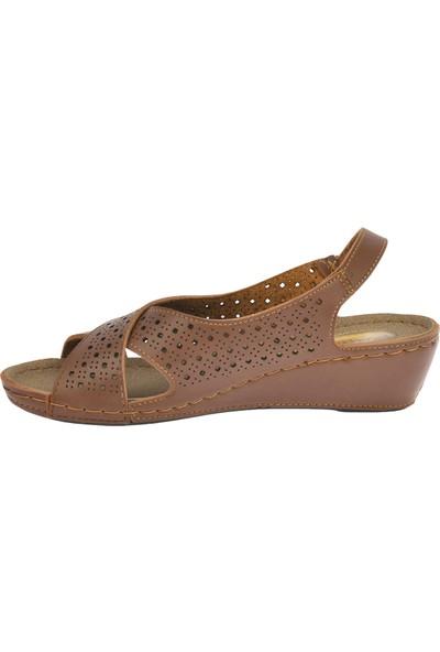 Ayakland Jsm 201 Günlük Cırtlı Kadın Sandalet Taba