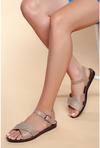 Ayakland JSM-58255 Günlük Kemerli Kadın Sandalet