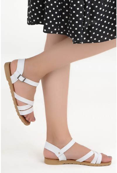 Ayakland Sultans Çapraz-1 Cilt Günlük Kadın Sandalet