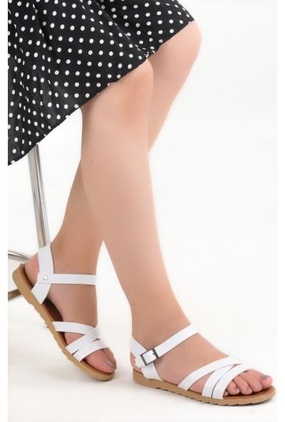 Ayakland Sultans Çapraz-1 Cilt Günlük Kadın Sandalet Beyaz