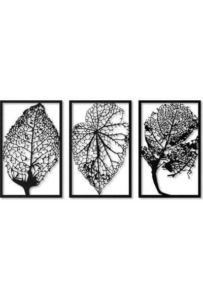 Artan Hediyelik Son Bahar 3'lü Siyah Ahşap Tablo 50 x 32 cm