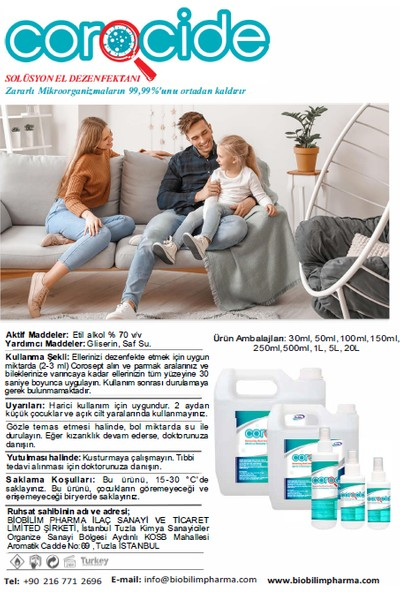 Biobilim Corocide® Solüsyon El Dezenfektanı 500 ml x 10 Adet