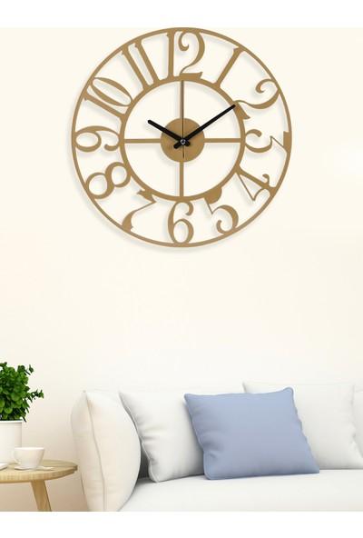 Muyika Asya Gold/eskitme Rengi Metal Duvar Saati 41 x 41 cm