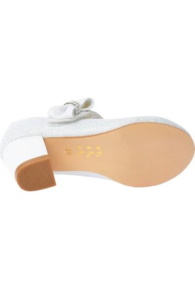 Kiko 750 Simli Günlük Kız Çocuk 4 cm Topuk Babet Ayakkabı Beyaz