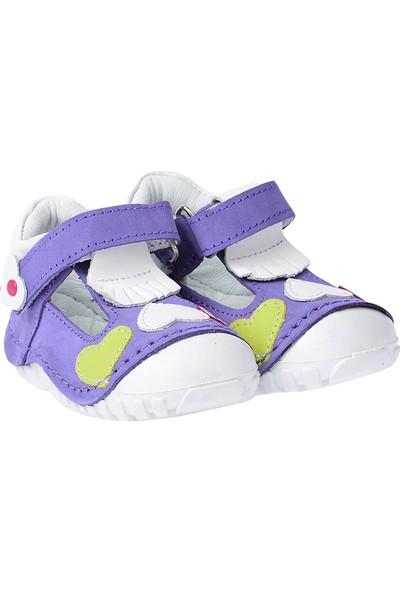 Kiko Kids Teo 105 %100 Deri Orto Pedik Cırtlı Kız Çocuk Ayakkabı Lila