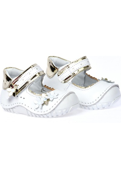 Kiko Kids Teo 119 %100 Deri Orto Pedik Cırtlı Kız Çocuk Ayakkabı Beyaz Altın