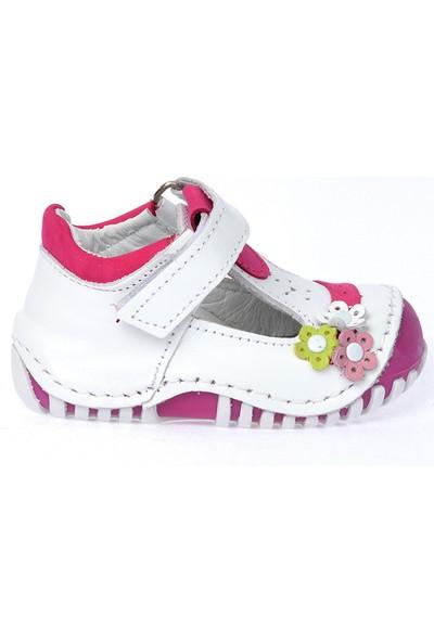 Kiko Kids Teo 130 %100 Deri Orto Pedik Cırtlı Kız Çocuk Ayakkabı Beyaz Fuşya