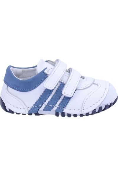 Kiko Kids Teo 138 %100 Deri Orto Pedik Cırtlı Kız Çocuk Ayakkabı Beyaz-Mavi