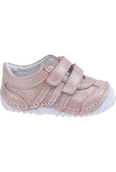 Kiko Kids Teo 138 %100 Deri Orto Pedik Cırtlı Kız Çocuk Ayakkabı Pudra