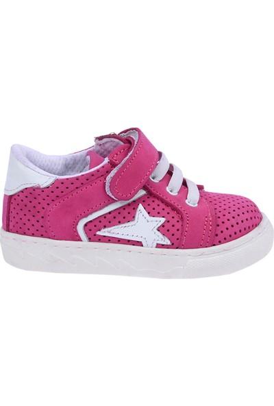 Kiko Kids Teo S-2010 %100 Deri Orto Pedik Cırtlı Kız-Erkek Çocuk Ayakkabı Fuşya