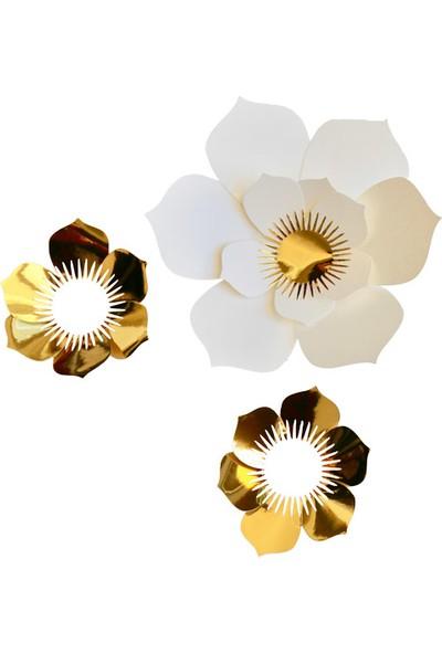 Ohlala Party Altın ve Beyaz Renkli Üçlü El Yapımı Çiçek Şeklinde Duvar Süsü