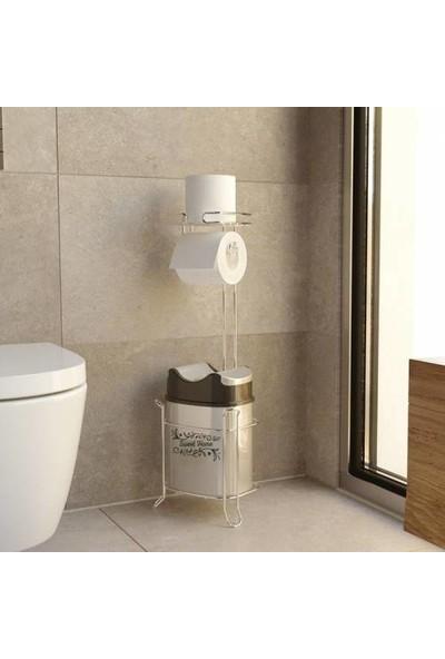 Evistro Banyo Tuvalet Fırçalığı Tuvalet Kağıdı Askısı Yedekli Ayaklı