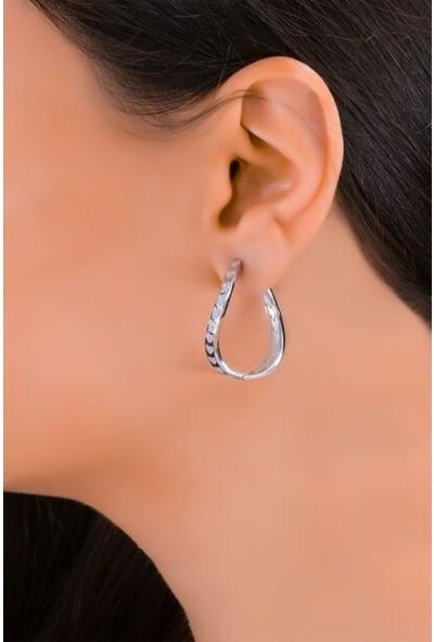 Glint Point Kalp Figürlü Rodyumlu Kavisli Kadın Küpe