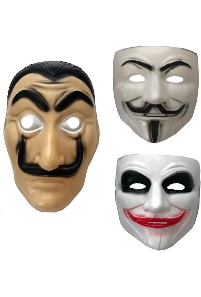 Erpa 3'lü Maske Seti V For Vandetta Salvador Dali Joker