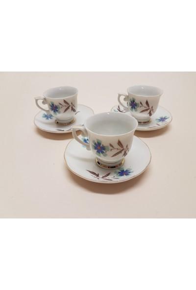 Begüldan Eski Üçlü Porselen Kahve Fincanı