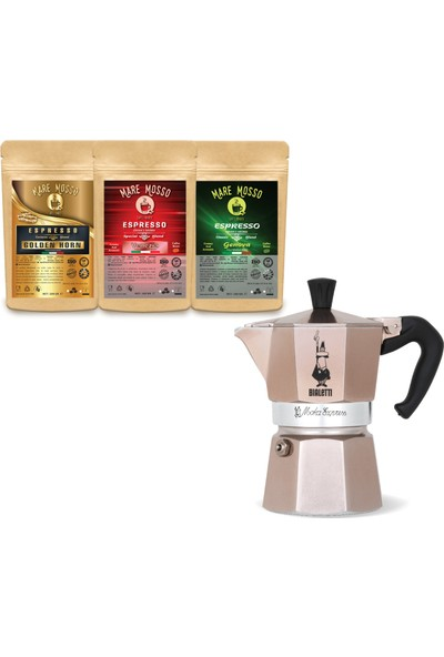 Bıalettı Moka Pot Express Rose Gold 1 Cup + 100 gr x 3 Paket Espresso Kahve