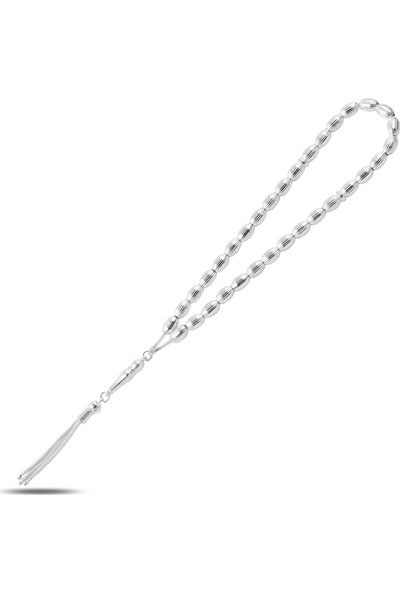 Zuk Collection Gümüş 5 mm 33'lü Çizgili Arpa Tesbih