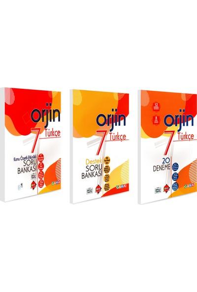Gama 7. Sınıf Orjin Türkçe Konu Özetli + Soru Bankası + Deneme Seti 3 Kitap 2021
