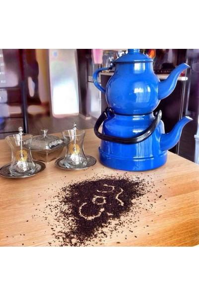 Ebru Metal Emaye Nostaljik Çaydanlık