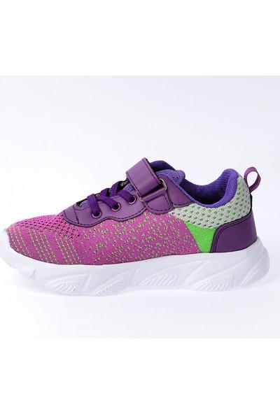 Kiko S10 Günlük Fileli Cırtlı Kız Çocuk Spor Ayakkabı Mor