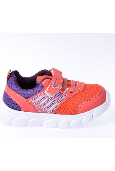 Kiko S12 Günlük Fileli Cırtlı Kız-Erkek Çocuk Spor Ayakkabı Somon
