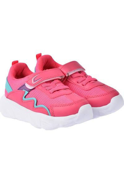 Kiko S17 Günlük Fileli Cırtlı Kız-Erkek Çocuk Spor Ayakkabı Fuşya