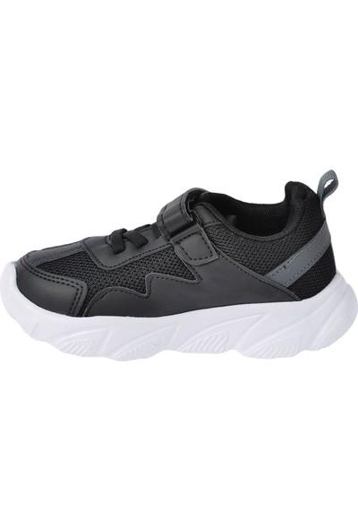 Kiko S17 Günlük Fileli Cırtlı Kız-Erkek Çocuk Spor Ayakkabı Siyah Füme