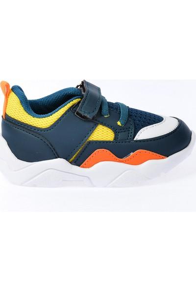 Kiko S19 Günlük Fileli Cırtlı Kız-Erkek Çocuk Spor Ayakkabı Petrol