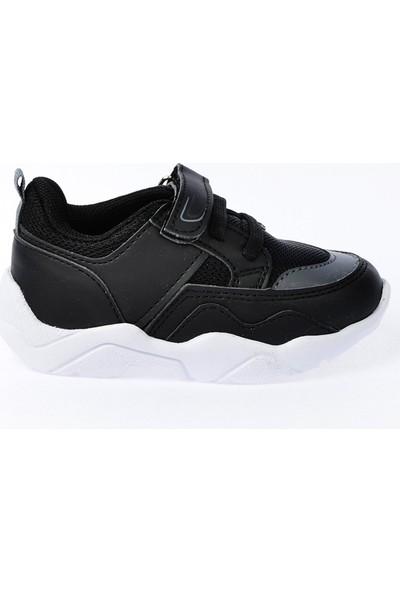 Kiko S19 Günlük Fileli Cırtlı Kız-Erkek Çocuk Spor Ayakkabı Siyah Füme