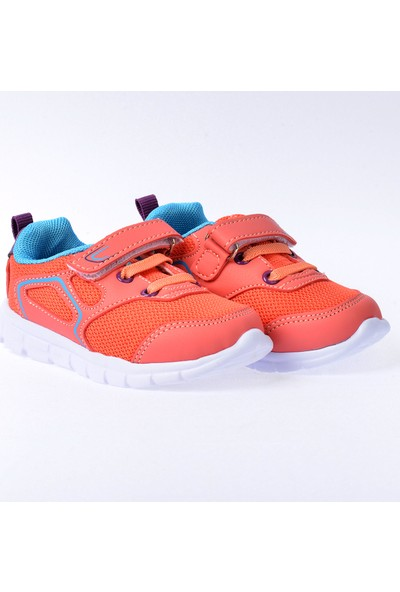 Kiko S27 Günlük Fileli Cırtlı Kız-Erkek Çocuk Spor Ayakkabı Somon