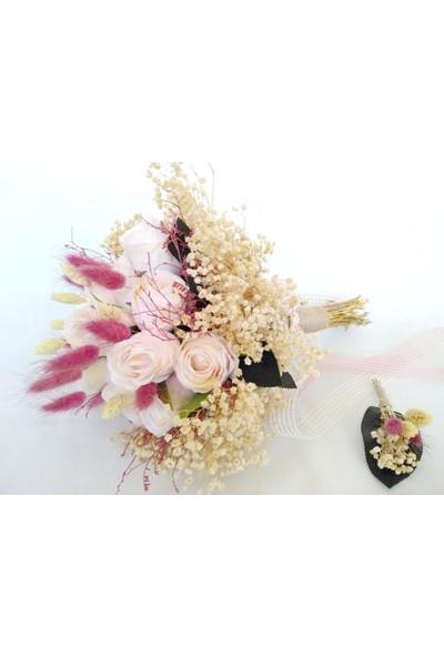 Öz Dokunuş Gelin Buketi Düğün Çiçeği Yapay Çiçek Pudra Gül Demeti