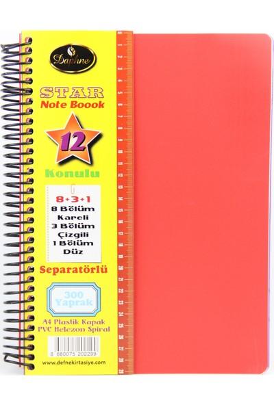 Defne Star Spiralli A4 Plastik Kapak Ayraçlı Defter 8 Kareli+3 Çizgili+1 Düz 300 Yaprak