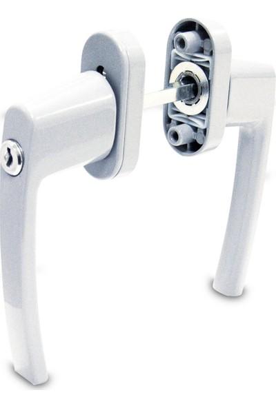 Std Alüminyum Kilitli Kapı Kolu   Çiftli   Beyaz (Ral 9016)